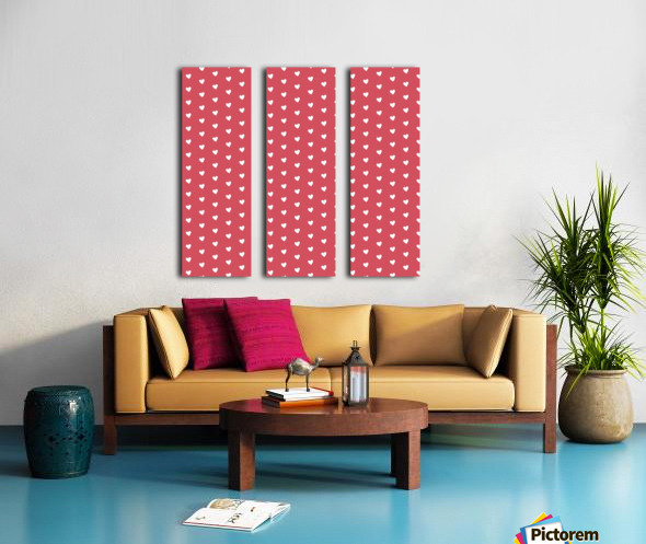 Royal Red Heart Shape Pattern Split Canvas print
