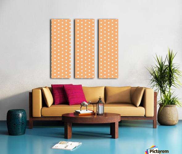 Sandy Brown Heart Shape Pattern Split Canvas print