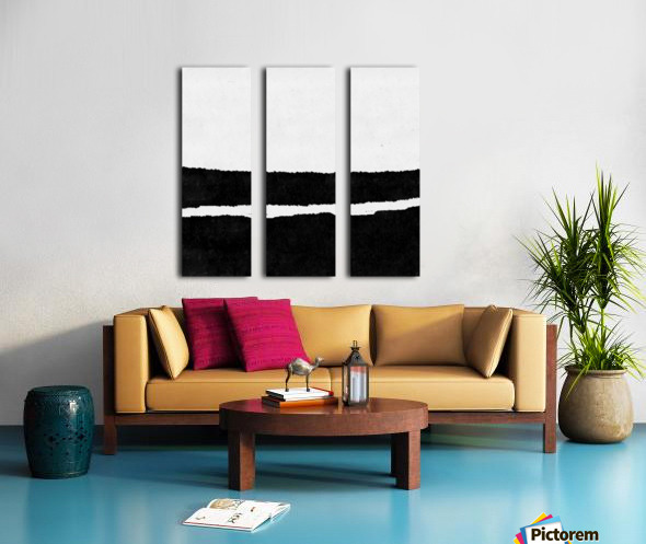 Black White Minimal Abstract Painting Nr.102 Split Canvas print