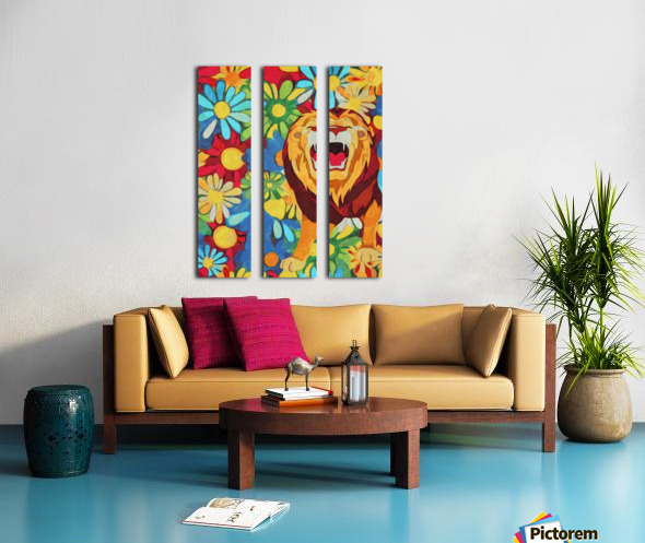 Lion and Flowers Fantasy  Split Canvas print