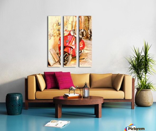 The Red Vespa Split Canvas print