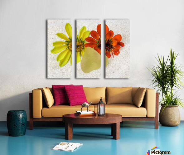 Pale yellow sea glass and zinnias Split Canvas print