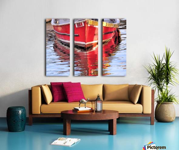 Red skiff reflections Split Canvas print