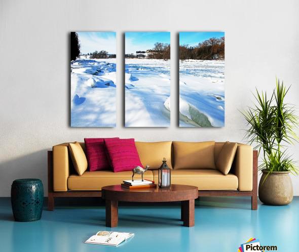 Frazil Ice On The Grand River West Montrose Split Canvas print