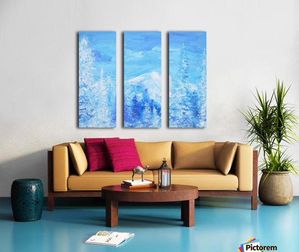 Monochromatic Blue Rocky Mountains Split Canvas print