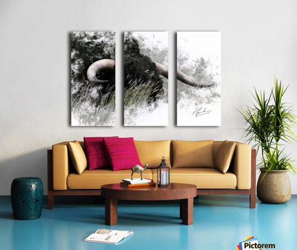 Bull in long grass Split Canvas print