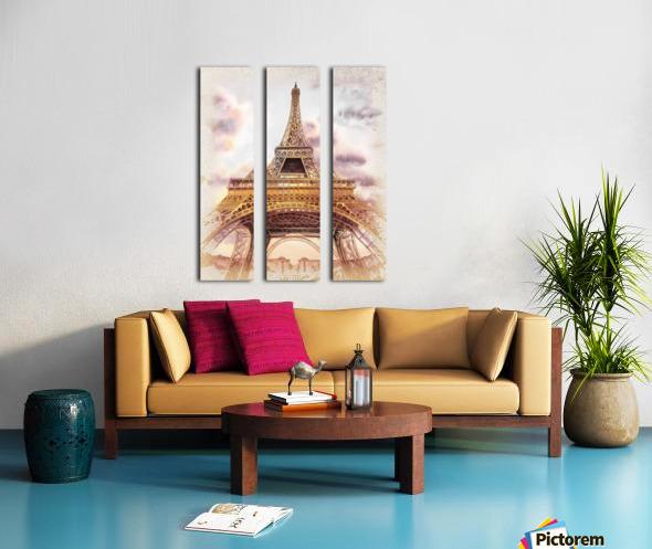 Vintage Paris Eiffel Tower Watercolor Painting Split Canvas print