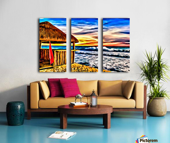 Beach Hut and Stormy Sea in Oil Split Canvas print