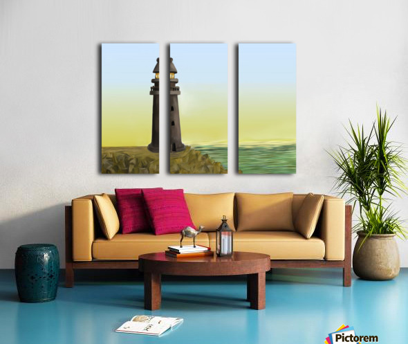 Sunset with Lighthouse Split Canvas print