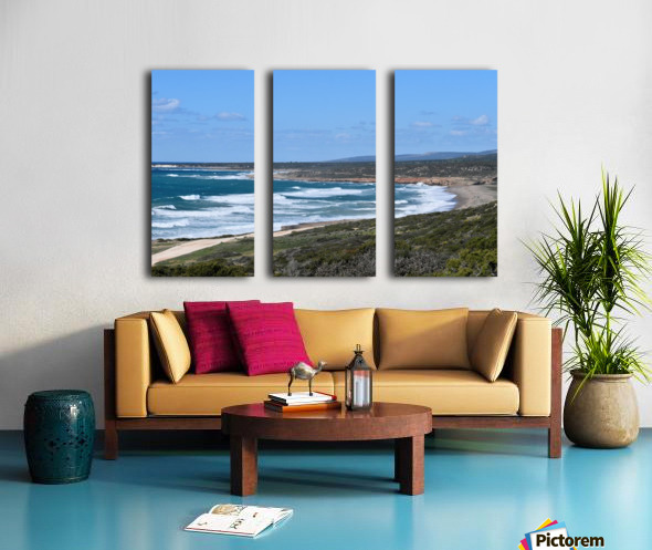 Seashore with waves and blue sky - Cyprus Split Canvas print