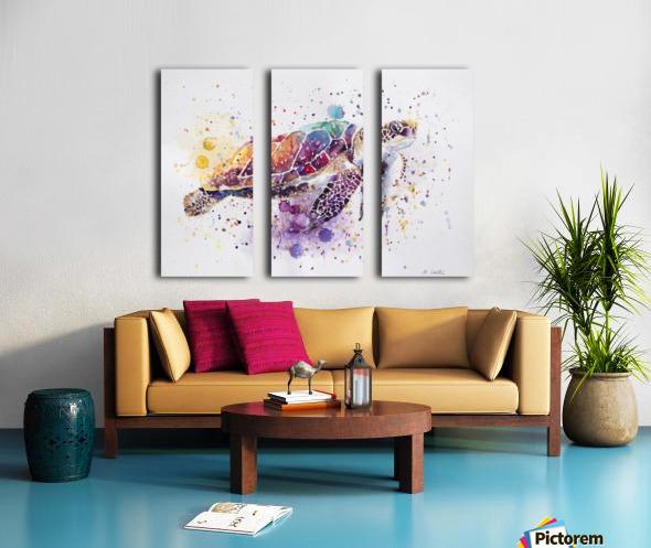 Rainbow Sea Turtle Split Canvas print