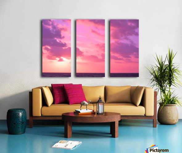 Sunset over the Sea - Shades of Pink Split Canvas print