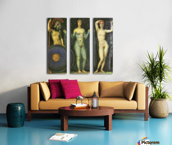 The three Goddesses Athena, Hera and Aphrodite by Franz von Stuck Split Canvas print