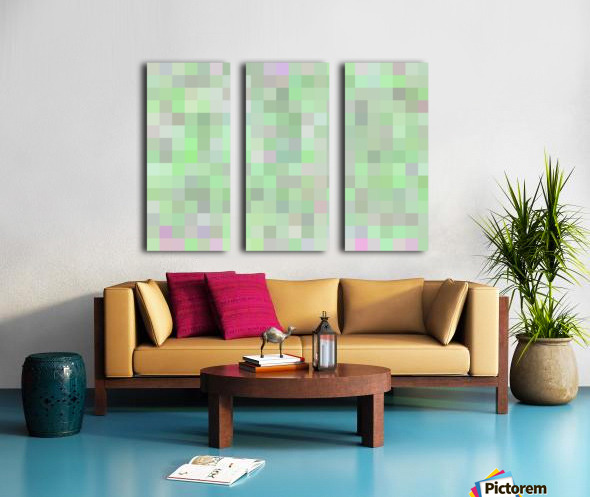 geometric square pixel pattern abstract in green and pink Split Canvas print