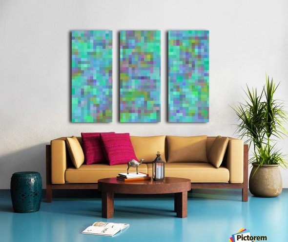 geometric square pixel pattern abstract in green blue pink Split Canvas print