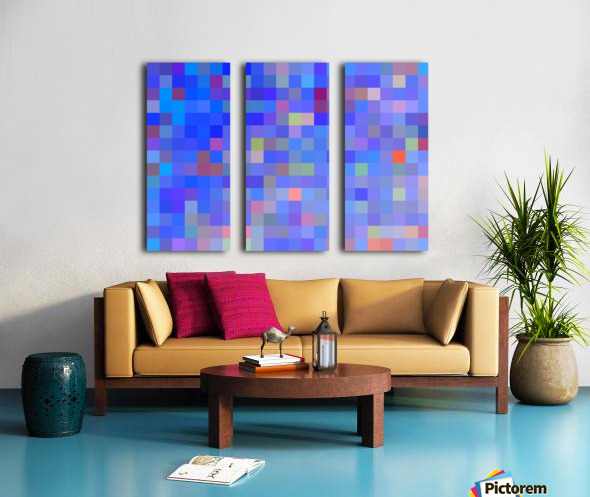 geometric square pixel pattern abstract in blue and pink Split Canvas print