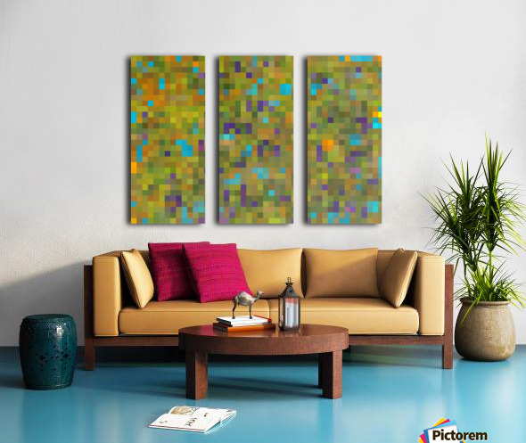 geometric square pixel pattern abstract in green yellow blue purple Split Canvas print