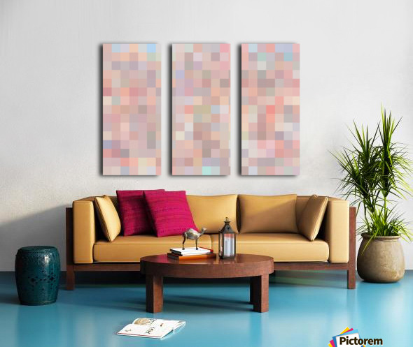 geometric square pixel pattern abstract in pink and blue Split Canvas print