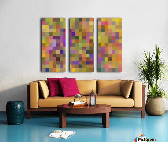 geometric square pixel pattern abstract in yellow green purple Split Canvas print