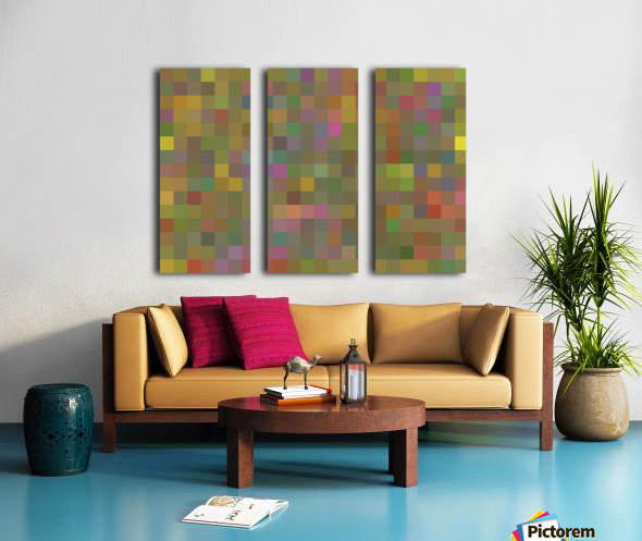 geometric square pixel pattern abstract in green pink yellow Split Canvas print