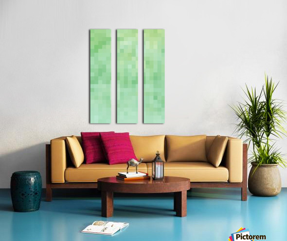 Abstract Pixel Picture - Green shades  Split Canvas print