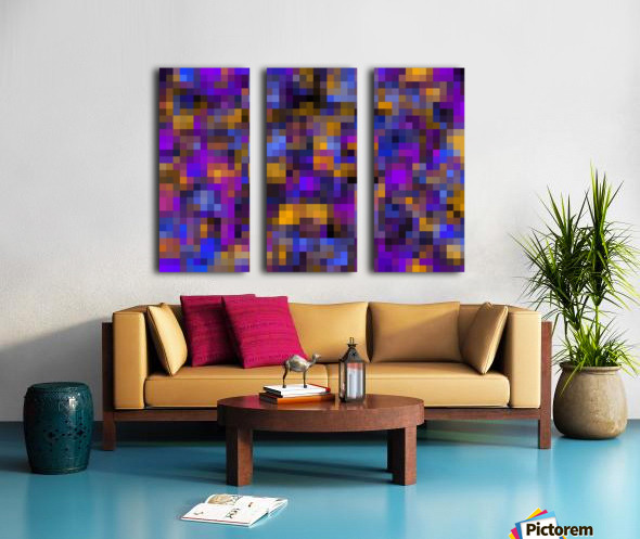 geometric square pixel pattern abstract background in blue purple yellow Split Canvas print