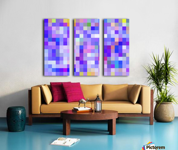 geometric square pixel pattern abstract background in blue pink purple Split Canvas print