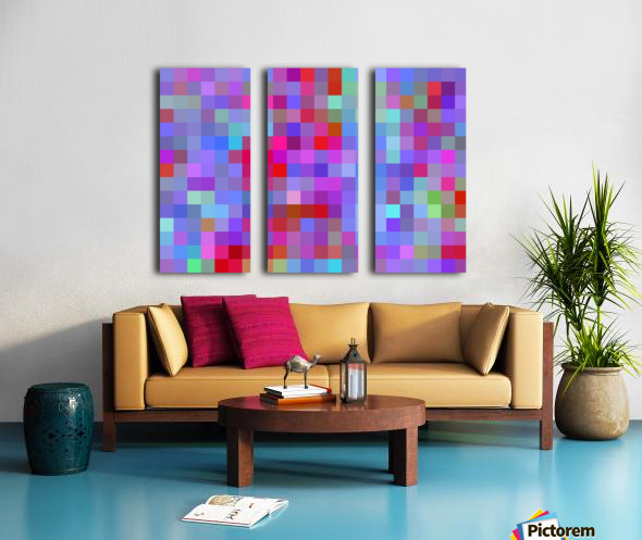 geometric square pixel pattern abstract background in pink blue purple Split Canvas print
