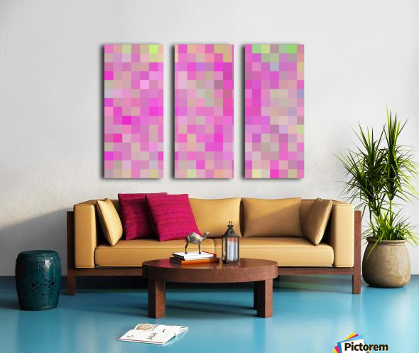 geometric square pixel pattern abstract background in pink blue green Split Canvas print
