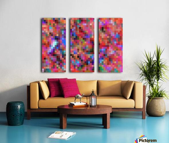 geometric square pixel pattern abstract background in pink blue orange purple Split Canvas print