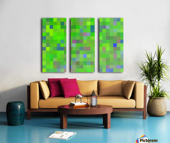 geometric square pixel pattern abstract background in green blue pink Split Canvas print