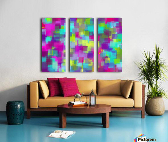 geometric square pattern abstract background in pink yellow blue Split Canvas print