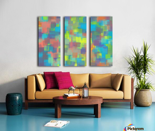geometric square pattern abstract background in blue yellow brown Split Canvas print