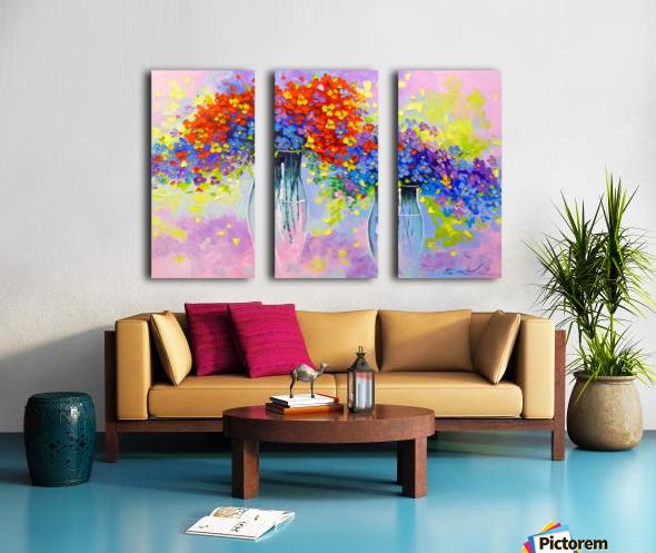 Music of multi-colored flowers Split Canvas print