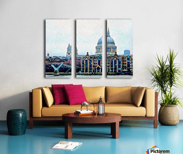 Millennium Bridge to St Pauls Cathedral London Split Canvas print
