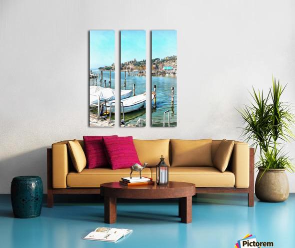 Moored Boats at Passignano Split Canvas print