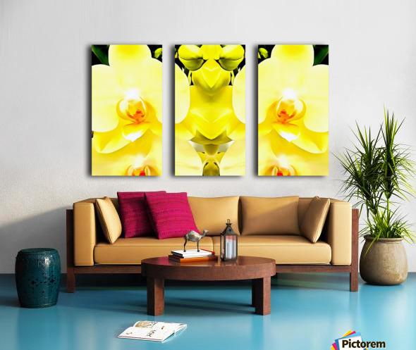 Yellow Orchid Pattern Split Canvas print