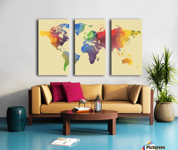 Hot And Vivid Watercolor Map Of The World Split Canvas print