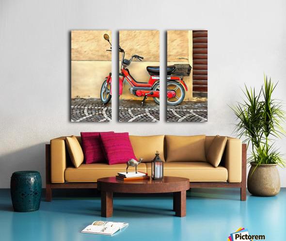 Red Piaggio Moped Split Canvas print