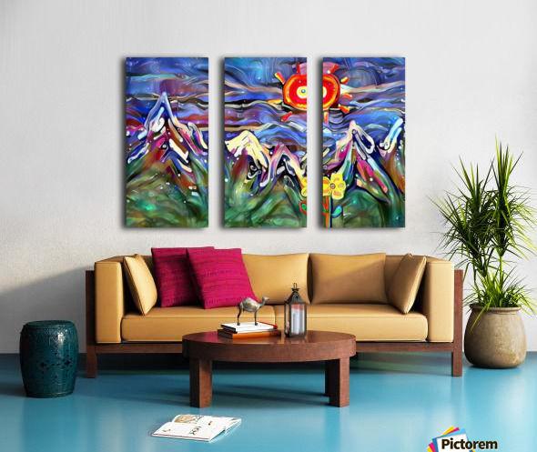 Mountain Landscape with Flowers Split Canvas print
