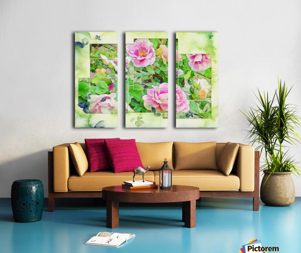 Soft Rose Fragments Split Canvas print