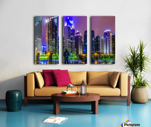Lujiazui District Nigth Scene, Shanghai, China Split Canvas print