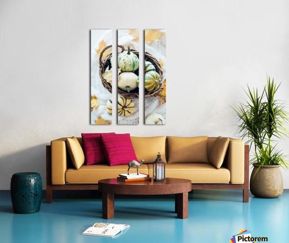 Autumn pumpkins in a basket Split Canvas print