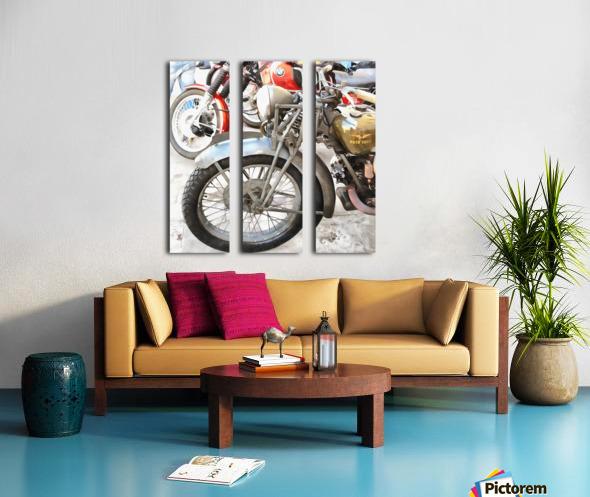 Moto Guzzi and BMW Front Wheels Split Canvas print