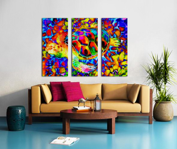 Rainbow Turtle Split Canvas print