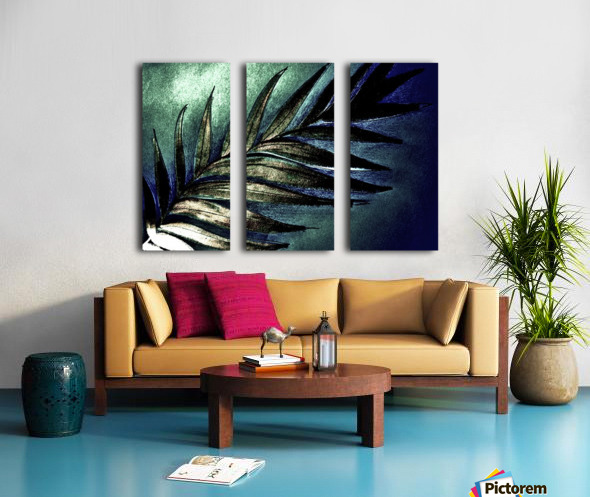 GREEN METALLIC PALM TREE LEAF TROPICAL DESIGN Split Canvas print