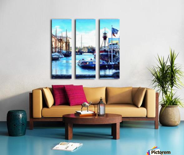 Looking Along Nyhavn Harbour Denmark Split Canvas print
