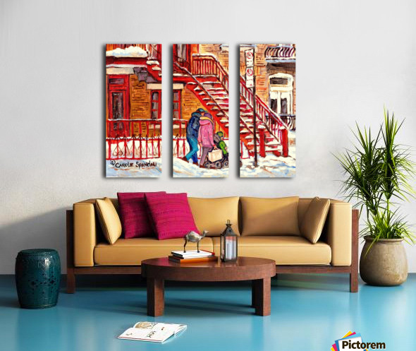 MONTREAL PAINTING OF WINTER SCENE COUPLE NEAR SPIRAL STAIRCASE  Split Canvas print