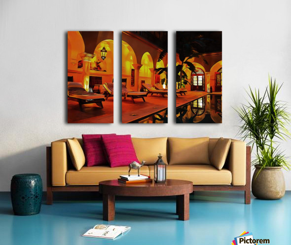 Riad At Night In Marrakech Split Canvas print