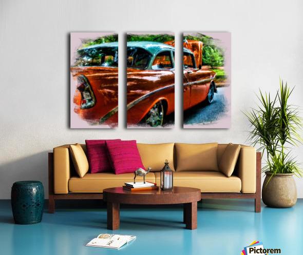 Classic Orange Car in Park Painting Toile Multi-Panneaux
